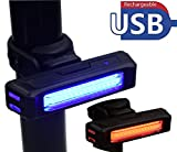 Easy Living Bike Tail Light Ultra Bright USB Rechargeable 500mA Bike Front Back 5 Light Modes, High Intensity Rear LED Accessories Fits On Any Road Sports Bikes Helmets Backpack. Red/Blue Light 2