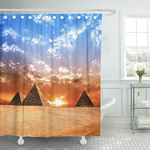 Emvency Shower Curtain Set Waterproof Adjustable Polyester Fabric Egyptian Egypt Pyramid Historic Buildings Panorama Sunset Monument Sun Evening 66 x 72 Inches Set with Hooks for Bathroom