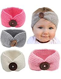 Baby Turban Head Wrap Headbands Girl Knitting Button...