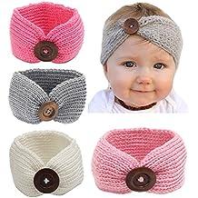 Qandsweet cinta para el cabello tipo turbante, de punto, con botón, para bebé, talla única , Paquete de 4