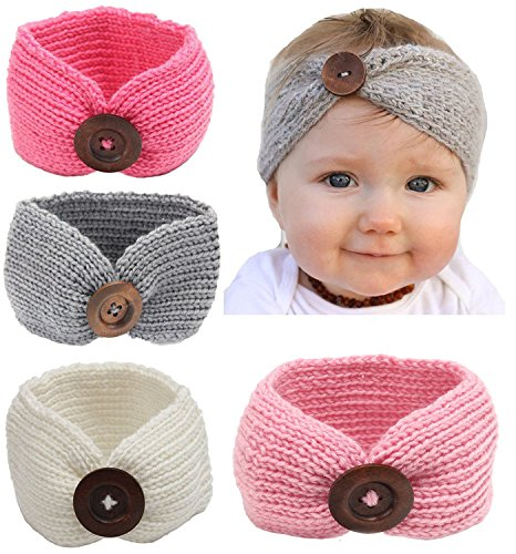 Qandsweet Baby Turban Head Wrap Headbands Girl Knitting Button Hairbands -