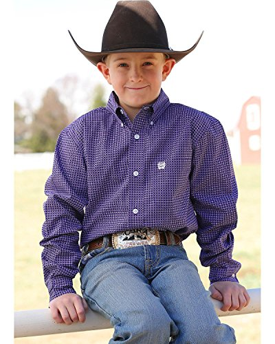 d Purple Print Long Sleeve Button Down Shirt Purple Small (Boys Cinch)
