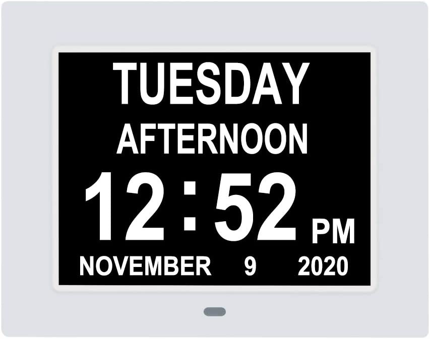 7 Inch Digital Day Calendar Clock 3 Medication Reminder Non-Abbreviated Day Date Time Dementia Clocks Perfect for Seniors Elderly Vision Impaired Memory Loss
