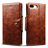 iPhone 7 8 plus Leather Wallet Phone Case Protective Back Hybrid Cover with Kickstand Card Slots