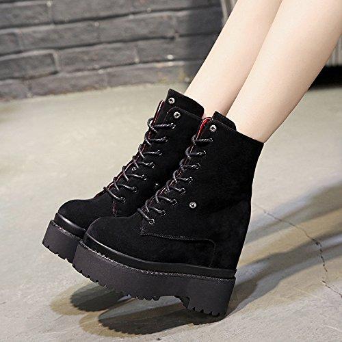 khskx-super de grosor inferior de piel de invierno botas con terciopelo Stealth mayor zapatos de tacón para Casual Sra. negro
