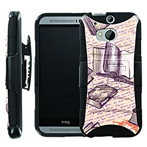 [ManiaGear] Heavy Duty Combat Armor Dual Layer Design Image Case With Kickstand Belt Holster Case (Writing a Book) for HTC One M8