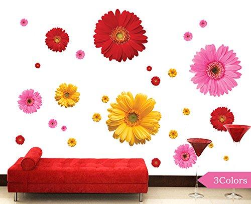 Winhappyhome Romantische Daisy Wand Aufkleber FüR Schlafzimmer Wohnzimmer Fernseher Café Hintergrund Entfernbare Dekor Aufkleber Abziehbilder (3 Farben)