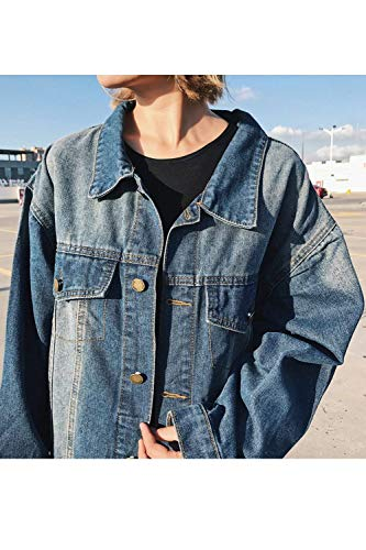 Maniche Bavero Primaverile Blau Giacca Streetwear Tempo Donna Cappotto Autunno Fashion Eleganti Vintage Giovane Base Pattern Libero Stile Coat Jeans Flamingo Tendenza Relaxed Lunghe t80BwB