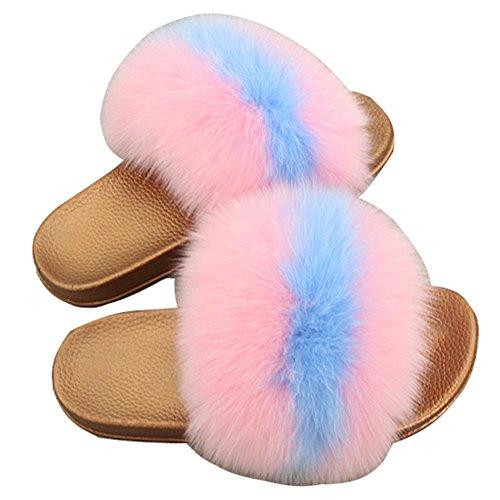 Pink Plume Open Doux Fourrure pour Multicolore Tongues Pantoufles Faire Femmes Toe Glisser de MSFS qCBRHB