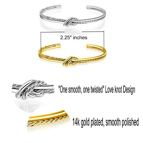 23d5d8a5585 I'S ISAACSONG 14k Gold Plated Adjustable Cable Wire Twisted Band Infinity  Love Forever Knot Open Cuff Bangle Bracelet Set for Teen Girls Women (2Pcs  ...