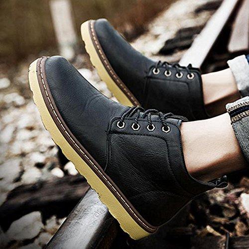 Combat Fodera Autunno Boot Black Escursionismo Scarpe Lace Uomo All'aperto Lavoro Impermeabile Up Antiscivolo Martin Stivali Da Caviglia 7FZwqpx