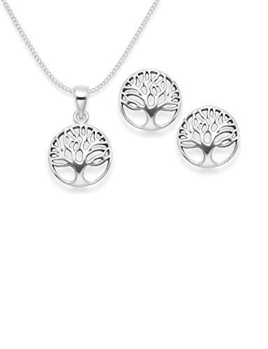 Sterling Silver Tree of Life drop earrings - Size: 13mm 6097 . Antiqued finish (oxidized). Gift Boxed - 6097 B41HN BGogYf