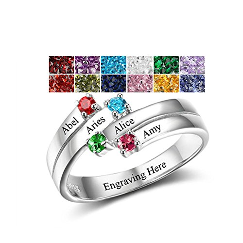 Sterling Silver Mothers Rings with 4 Birthstones, Choose 4 Birthstones 4 Names and 1 Engraving Customized and Personalized BFF (3 Stone Mom Ring)