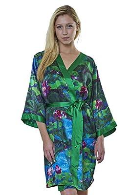 Dynasty Robes 100% Silk, Women's Printed Short Robe With Kimono Collar-Lotus Garden-Green