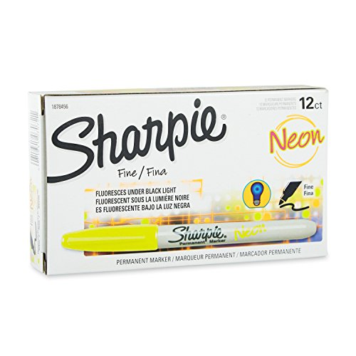 Sharpie 1878456 Neon Fine Point Permanent Marker, Neon Yellow, 12-Pack