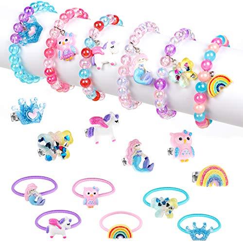 18 Piezas Pulseras y Anillos para Niña Joyas Niña Unicornio Sirena Corona Mariposa Pulseras Anillos Ajustables Princesa…