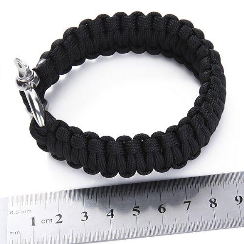 niceEshop(TM) Outdoor Paracord Survival Bracelet with Zinc Alloy Bow Shackle,Black