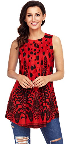 Arctic Cubic Sleeveless Button Front Floral Shirred Ruched Pleated Blouse Shirt Swing Trapeze Peplum Tank Vest Top Red L