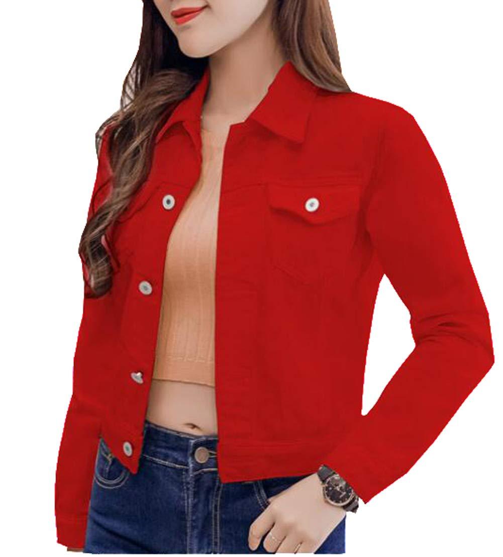HomeToy Womens Solid Color Short Loose Casual Baseball Clothing Cardigan Denim Jacket