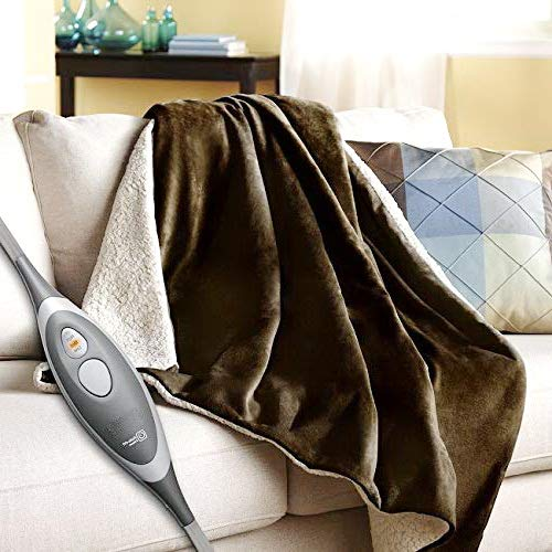 (Heated Blanket. Best Heat Up Soft Velvet Plush Portable Washable Winter Single Electric Lap Fleece Throw. Cord & Controller Warm Wrap Rug Timer Home & Travel, Fishing. (Brown))
