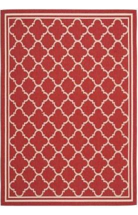 Transitional Rug - Courtyard 6000 Polypropylene -Red/Bone Red/Bone/Transitional/6' 7''L x 6' 7''W/Round 7' Knotted Bone