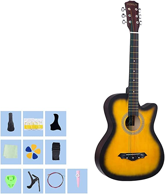YJFENG 38 Inches Guitarra Acústica,Cuerda De Cobre Corta Distancia ...