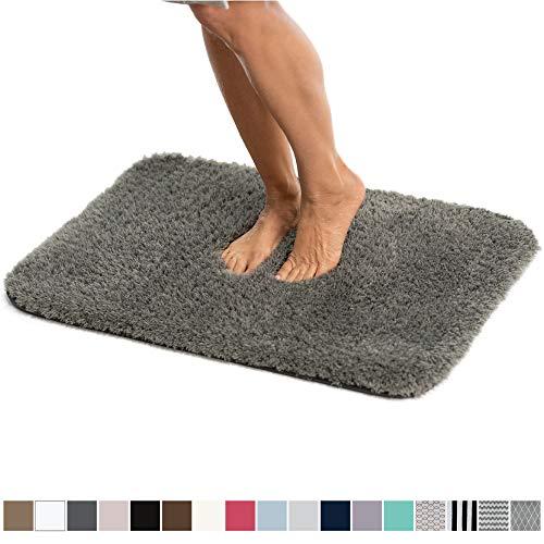 Gorilla Grip Original Luxury Faux Chinchilla Shag Bath Rug, 42x24, Super Soft and Cozy, High Pile Rugs, Thick Modern Bathroom Carpet Mat, Machine-Washable Large Floor Mats for Bath Room, Dark Gray
