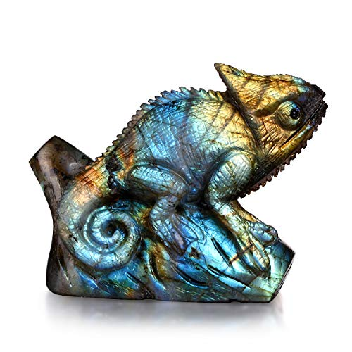 NATURSTON Handcrafted Gemstone's Lizard Figurines Crystal Carving Chameleon Statue Natural Labradorite Carving Animal Statues Animal Carvings Crystal Figurines Collectibles (Rainbow1, 2.0