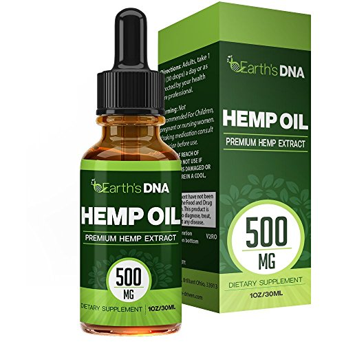 Hemp Oil Drops (500MG) - Premium Seed Extract - Rich in Omega Fatty Acids - Promotes Relaxation - All Natural - 30ML Bottle - One Month Supply - Earths DNA
