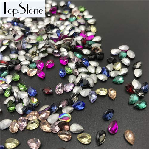 Calvas Mix Colors 50pcs 4x6,5x8mmTiny Teardrop Fancy Stones Droplet Glass Crystals for DIY Jewelry Necklace Watches Loose Crystals - (Color: 4x6mm 50pcs) from Calvas
