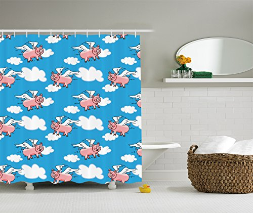 Ambesonne Pig Decor Collection, Flying Pig Cartoon Characters with Wings to Represent the Saying Great Kid Clouds Image, Polyester Fabric Bathroom Shower Curtain, Blue White - Shower Curtain Pigs