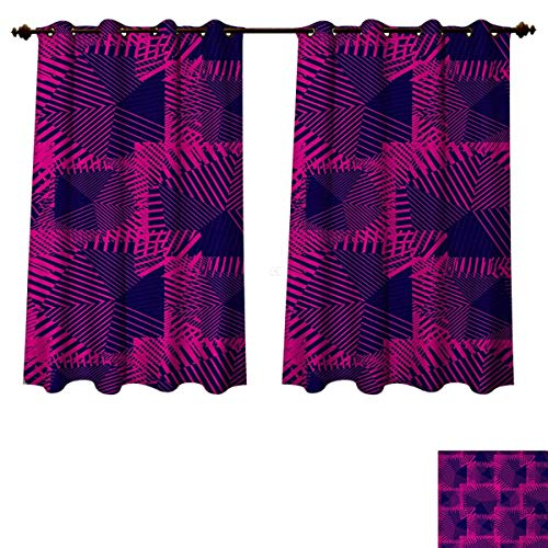 Anzhouqux Magenta Blackout Curtains Panels for Bedroom Trippy Zip Style Mix Pattern with Dark Color Effects and Diagonal Linked Lines Decorative Curtains for Living Room Fuchsia Purple W63 x L63 inch (Nouveau Back Zip)