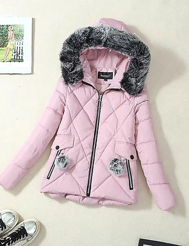 Cotton Padded Pink Blushing Women'S Street Simple Cotton Casual Sleeves Long Daily ZHUDJ Coat Others Going Solid Out Chic Regular 2XL EAwxq6