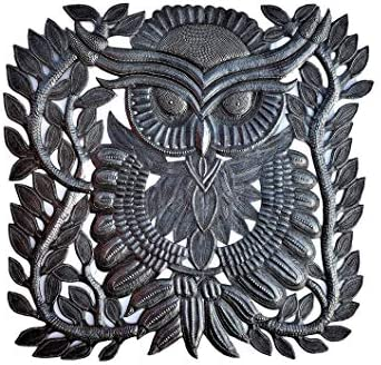 Decorative Owl for Home Decor, Wall Collectible Art from Haiti, Unique Reclaimed Artwork 17 in. x 17.5 in.