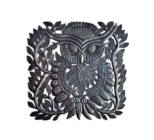 Steel Recycled Drum Haitian (Decorative Owl for Home Decor, Wall Collectible Art from Haiti, Unique Reclaimed Artwork 17