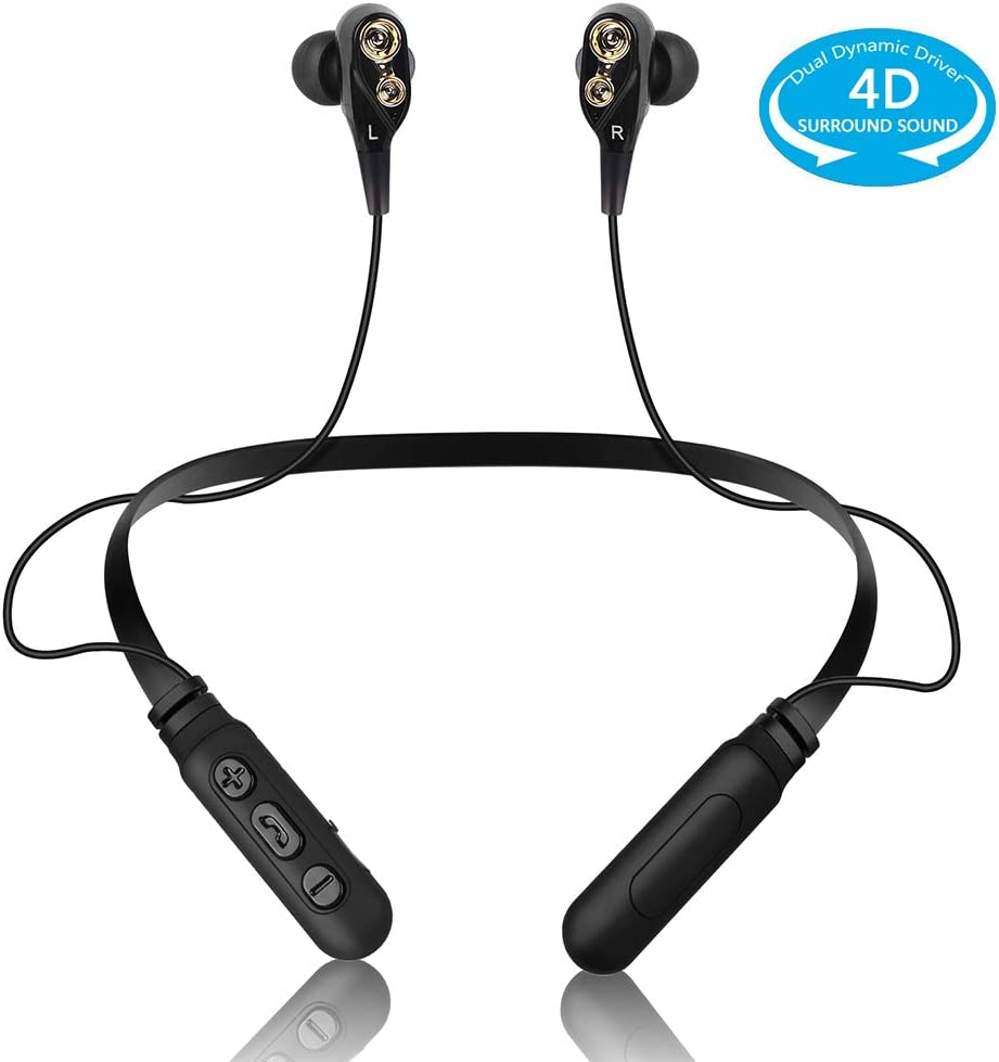 Bluetooth Headphones Neckband Wireless Headset Dual Dynamic Drivers Super 4D Surround Sound Strong Bass in-Ear Earphones Noise Cancelling Earbuds with Mic WaterproofSweatproof for Workout(Dual Black)
