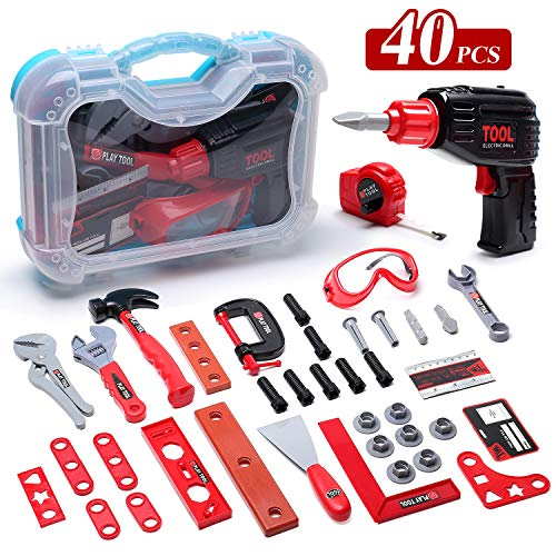 CUTE STONE 40PCS Kids Play Tool, Boys Construction Toy Tool Set with Electric Drill, Toddlers Pretend Play Tool Kit Accessories for Children, Plus Case