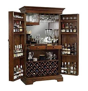 Green Wood Sheesham Wood Stylish Bar Cabinet with Wine Glass Storage for Living Room   Walnut Finish