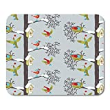 "Semtomn Gaming Mouse Pad Family Birds in Winter Forest Nest Pattern Berry Birdhouse Boots 9.5""x 7.9"" Decor Office Nonslip Rubber Backing Mousepad Mouse Mat"