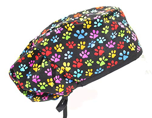 Extra Room Bouffant Colorful Little Dog Paw Prints Black Scrub Cap Hat
