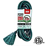 Iron Forge 16/3 SJTW Cable 3 Prong Extension Cord with 3 Electrical Power Outlet, 25 Feet