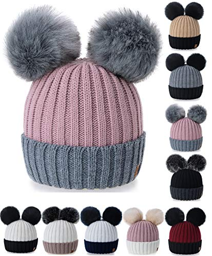4sold Wholesale Gris For Varios Rita Pompom Rouse Knitted colores Piel Girl Bonnet Unisex Miki y Talla Gorros Poked Wholesale Con Winter Skullies Boy Rosa Torsades rZrqAw4