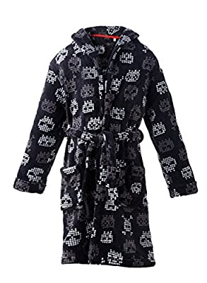 Homeswee Shawl Collar Fleece Skull Printed Bathrobe Kimono Nightgown for Boys