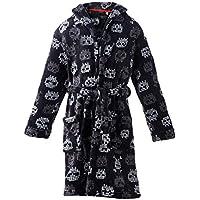 Homeswee Boy's Robes Shawl Collar Plush Bathrobe Skull Printed Sleepwear