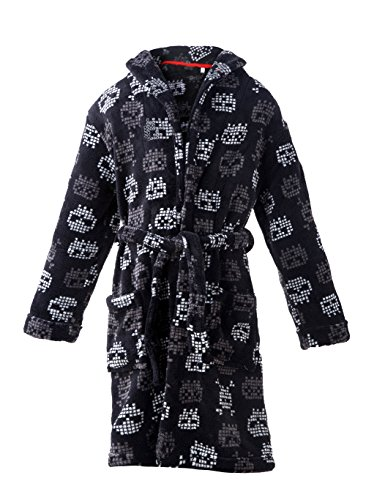 (home swee Boys Plush Fleece Robe Shawl Skull Printed Bath Robe Soft Bathrobe for Boy (7-8) Black)
