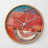 Society6 Di Lambretta A Milano (Lambretta In Milan) Wall Clock Natural Frame, White Hands
