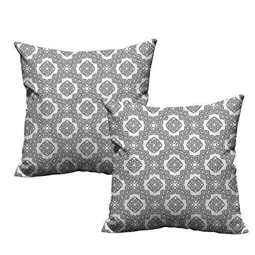 Celtic Motif Knot - Custom Zippered Pillow Case,Celtic,Vintage Geometric Diagonal Symmetrical Binding Celtic Knots Motifs Illustration,Black White 20