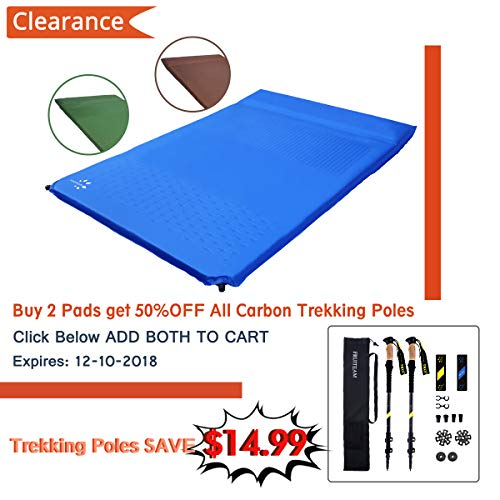 FRUITEAM Sleeping Pad 2 Person, Self Inflating Foam Pads Mat Sleeping Pad for Car Camping with Attached Inflating Pillow
