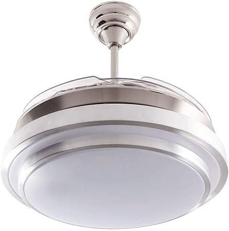 Ventilador de techo mod. Selene con LED incorporado y mando a distancia, 107 cm. acabado cromo y blanco con 4 aspas ...