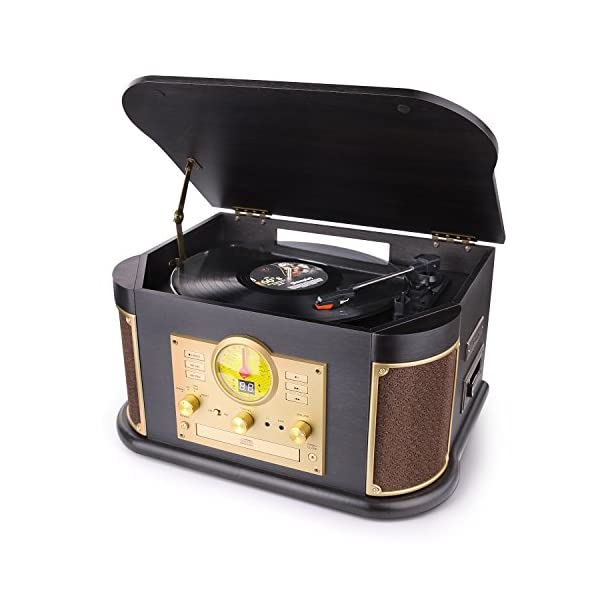 Bluetooth Record Player, dl Vintage Turntable 3-Speed Vinyl Record Player with 2x9W Speakers/CD/Cassette Tape/FM Radio… 3